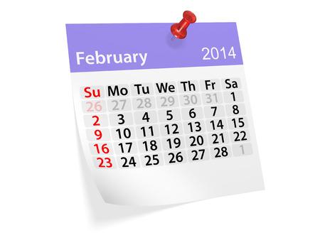 新年の 2014 年のカレンダー。2 月。