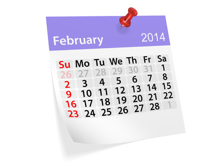 Monthly calendar for New Year 2014. February. Stock Photo