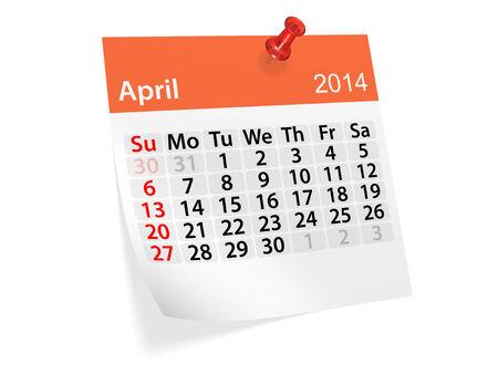 Maandelijkse kalender voor het nieuwe jaar 2014. April. Stockfoto
