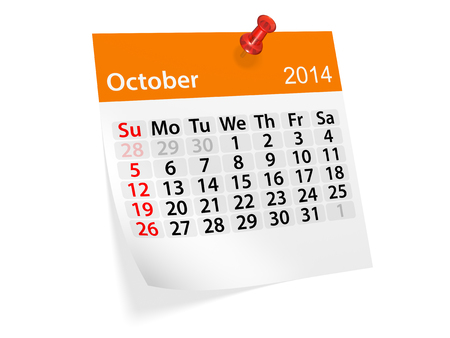 datebook: Monthly calendar for New Year 2014. October.