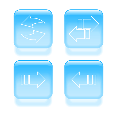 synchronization: Glassy arrow icons. Vector illustration.