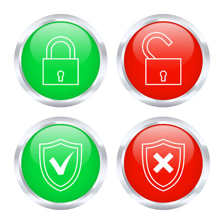vulnerability: Set of protection buttons. Vector illustration.