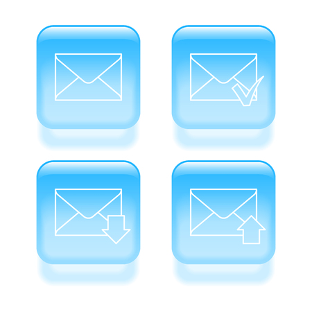 Glassy email icons. Vector illustration.