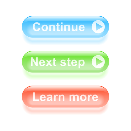 Glassy continue buttons. Vector illustration. Vector