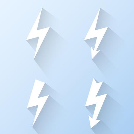 Flat lightning icons.  Vector