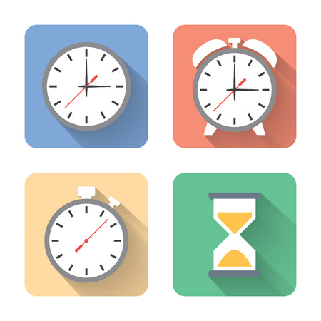 Flat time icons.  Vector