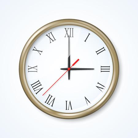 numeros romanos: Reloj de pared en el fondo neutro