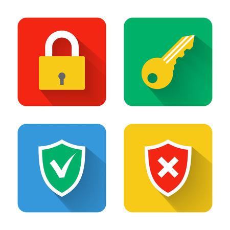 hack: Flat security icons illustration