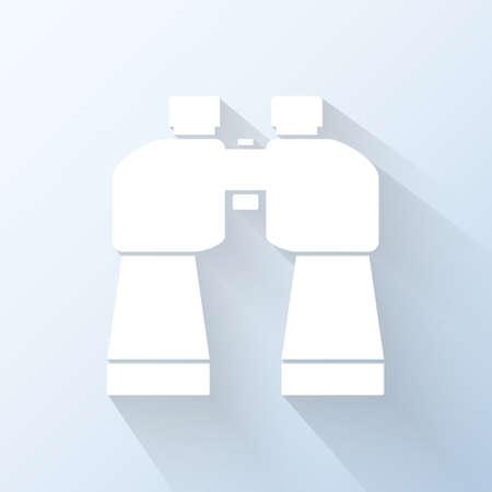 oversee: Flat binoculars icon.  Illustration