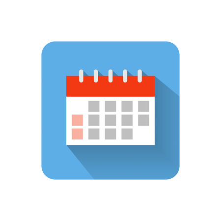 time icon: Flat calendar icon. Vector illustration