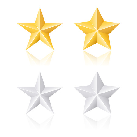 Gold and silver stars. Vector set Vector