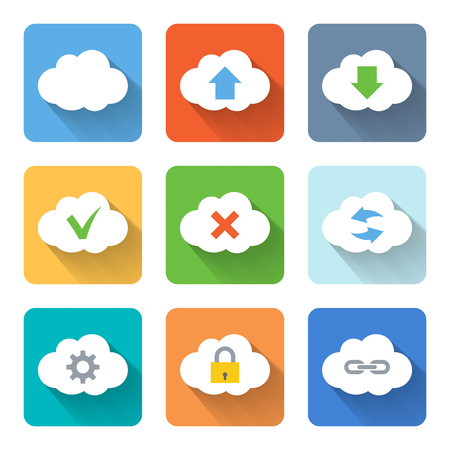 Flat cloud icons. Vector illustration Vector