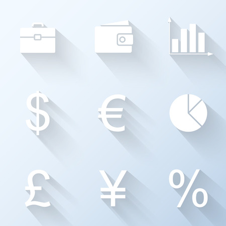 Flat finance icons. Vector illustration Vector