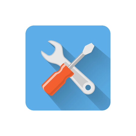 config: Flat settings icon. Vector illustration