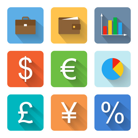 Flat finance icons illustration Vector