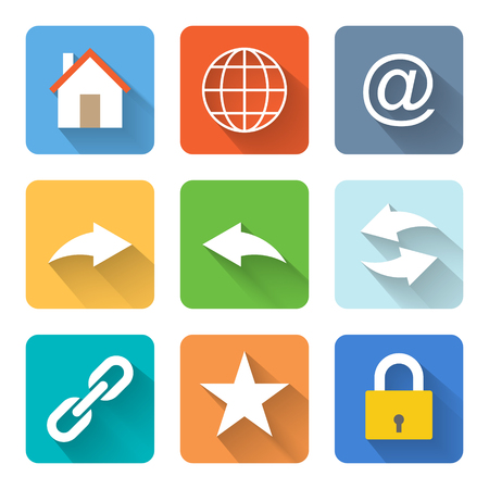 Flat internet browsing icons illustration Vector