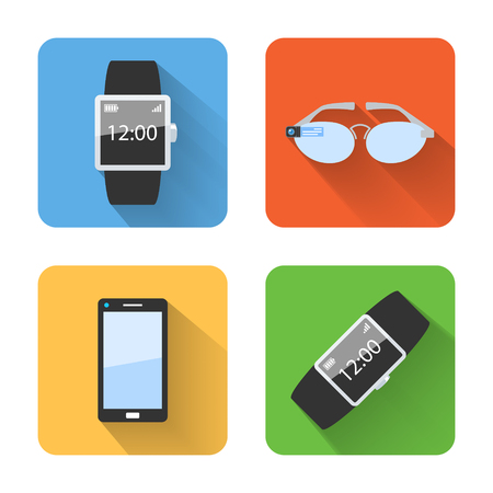 Flat smart wearable device icons. Vector illustration Vector