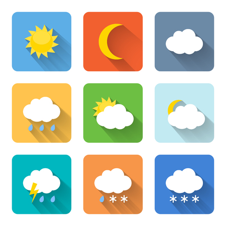 Flat weather icons. Vector illustration Vector