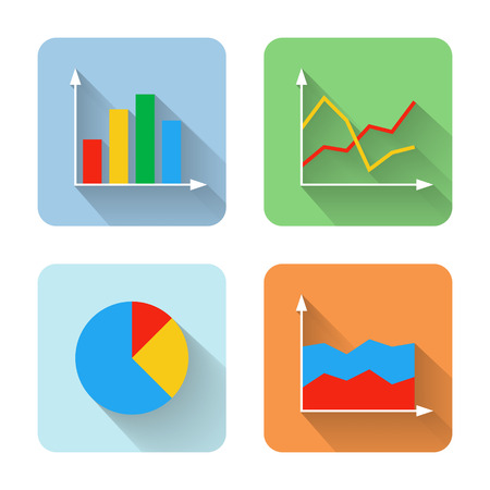 graphic arts: Flat graph icons. Vector illustration