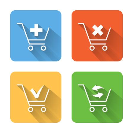 Platte winkelmandje iconen. Vector illustratie Stock Illustratie