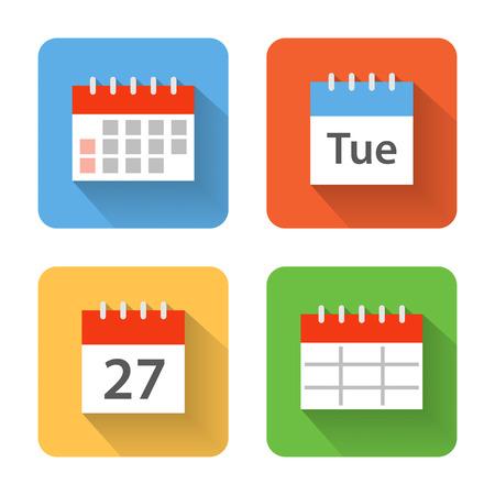 Flat calendar icons. Vector illustration