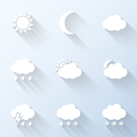 day and night: Flat weather icons. Vector illustration