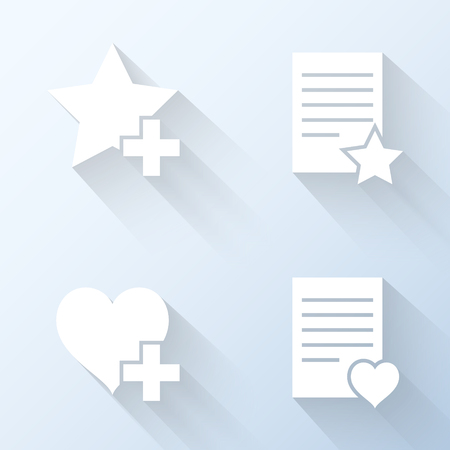 favorites: Flat favorites icons. Vector illustration