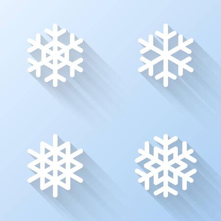 copo de nieve: Iconos del copo de nieve planas. Ilustraci�n vectorial