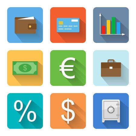 safe money: Flat business icons. Vector illustration