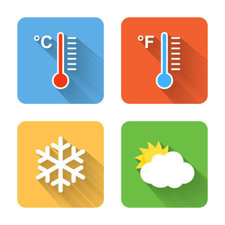 conditions: Flat weather icons. Vector illustration