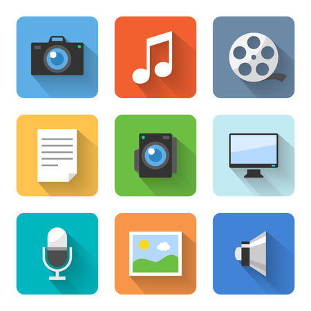 videos: Flat multimedia icons. Vector illustration