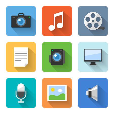 Icone multimedia piatte. Illustrazione vettoriale