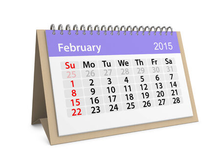 datebook: Monthly calendar for year 2015. February