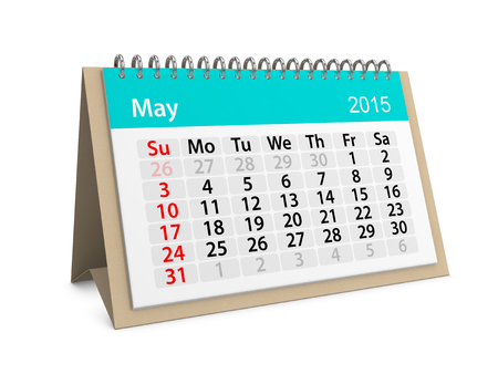 project deadline: Monthly calendar for year 2015. May Stock Photo