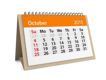 calendario octubre: Calendario mensual para el año 2015. octubre Foto de archivo