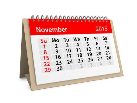 datebook: Monthly calendar for year 2015. November Stock Photo