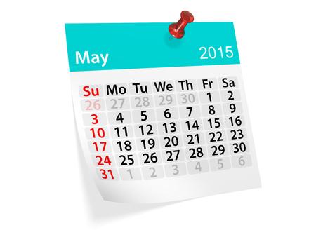 Maandelijkse kalender voor het jaar 2015. Mei