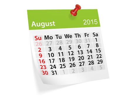 datebook: Monthly calendar for year 2015. August Stock Photo