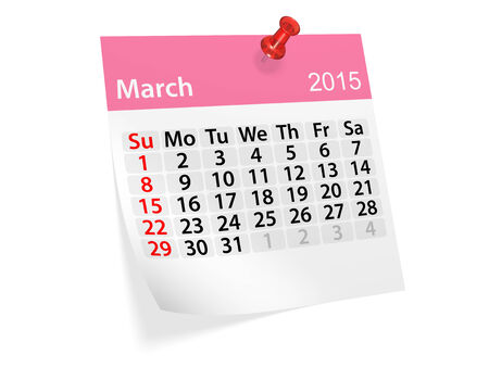 datebook: Monthly calendar for year 2015. March