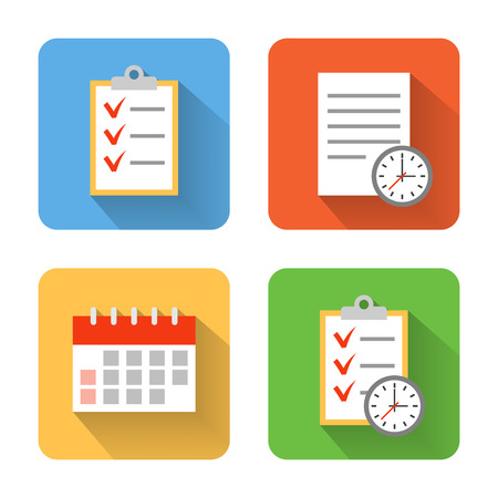 tasks: Flat schedule icons. Vector illustration