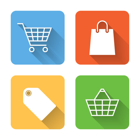 product cart: Flat shopping icons. Vector illustration
