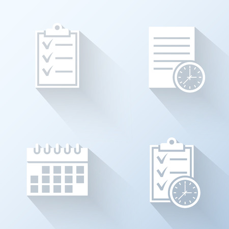 clipart: Flat schedule icons. Vector illustration