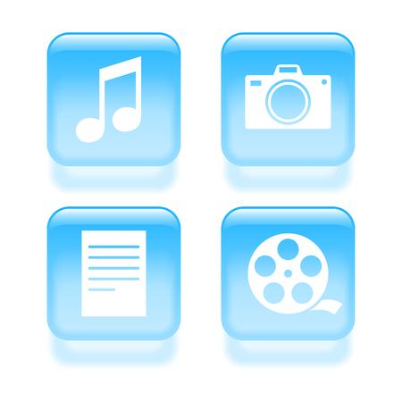 multimedia icons: Glassy multimedia icons. Vector illustration