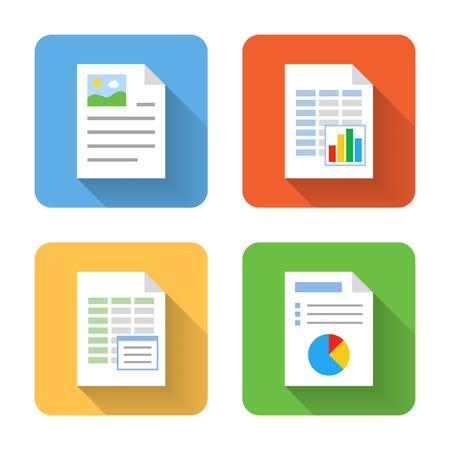 hoja de calculo: Iconos de documento planos. Ilustración vectorial