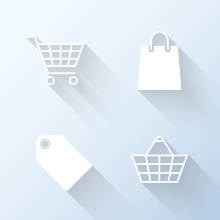 tally: Flat shopping icons. Vector illustration