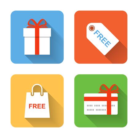 free gift: Flat shopping gift icons. Vector illustration Illustration