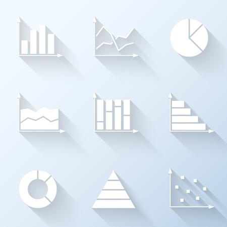 Vlakke grafiek pictogrammen. Vector illustratie Stock Illustratie