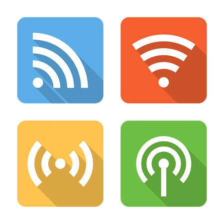 access point: Flat wireless connection icons. Vector illustration