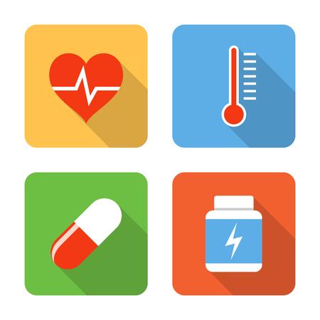 Platte gezondheidszorg pictogrammen. Vector illustratie