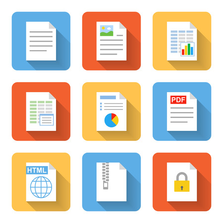Flat document icons. Vector illustration Vectores